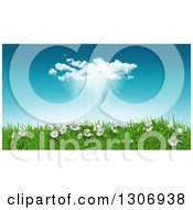 Clipart Of A 3d Sunny Spring Day Background With Blue Sky A Rain Cloud Daisies And Grass Royalty Free Illustration