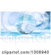 3d Floating Glass Sphere Or Bubble Against A Sky With Clouds