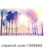 Clipart Of A 3d Vintage Designed Sunset Sky And Sunshine Through Palm Trees On A Tropical Beach Royalty Free Illustration
