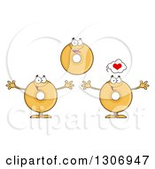 Clipart Of Cartoon Happy Round Plain Or Glazed Donut Characters Smiling And Welcoming Royalty Free Vector Illustration