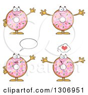 Clipart Of Cartoon Happy Round Pink Sprinkled Donut Characters Waving And Welcoming Royalty Free Vector Illustration