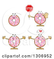 Clipart Of Cartoon Happy Round Pink Sprinkled Donut Characters Holding A Stop Sign And Welcoming Royalty Free Vector Illustration