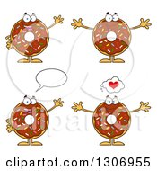 Clipart Of Cartoon Happy Round Chocolate Sprinkled Donut Characters Waving Welcoming And Talking Royalty Free Vector Illustration