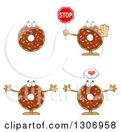 Clipart Of Cartoon Happy Round Chocolate Sprinkled Donut Characters Holding A Stop Sign And Welcoming Royalty Free Vector Illustration