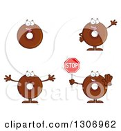 Clipart Of Cartoon Happy Round Chocolate Donut Characters Smiling Waving Welcoming And Holding A Stop Sign Royalty Free Vector Illustration