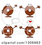 Clipart Of Cartoon Happy Round Chocolate Donut Characters Waving Welcoming And Talking Royalty Free Vector Illustration