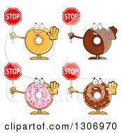 Clipart Of Cartoon Happy Round Donut Characters Gesturing And Holding Stop Signs Royalty Free Vector Illustration