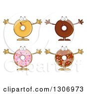 Clipart Of Cartoon Happy Round Donut Characters Welcoming Royalty Free Vector Illustration