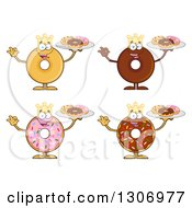 Clipart Of Cartoon Happy Round King Donut Characters Holding Trays Of Doughnuts Royalty Free Vector Illustration by Hit Toon
