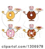 Clipart Of Cartoon Happy Round American Uncle Sam Donut Characters Holding Trays Of Doughnuts Royalty Free Vector Illustration by Hit Toon