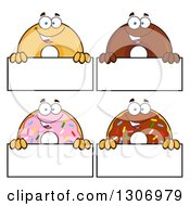 Clipart Of Cartoon Happy Round Donut Characters Over Blank Signs Royalty Free Vector Illustration by Hit Toon