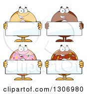 Clipart Of Cartoon Happy Round Donut Characters Holding Blank Signs Royalty Free Vector Illustration by Hit Toon