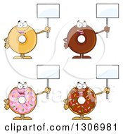Clipart Of Cartoon Happy Round Donut Characters Holding Up Blank Signs Royalty Free Vector Illustration by Hit Toon