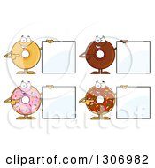 Clipart Of Cartoon Happy Round Donut Characters Holding And Pointing To Blank Signs Royalty Free Vector Illustration by Hit Toon