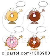Clipart Of Cartoon Happy Round Donut Characters Waving And Talking Royalty Free Vector Illustration by Hit Toon