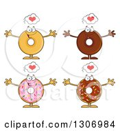 Clipart Of Cartoon Happy Round Donut Characters With Hearts And Open Arms Royalty Free Vector Illustration by Hit Toon