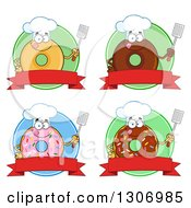 Clipart Of Cartoon Happy Round Donut Chef Characters Holding Spatulas Over Blank Banners And Green Circles Royalty Free Vector Illustration by Hit Toon
