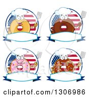 Clipart Of Cartoon Happy Round Donut Chef Characters Holding Spatulas Over Blank Banners And American Flag Circles Royalty Free Vector Illustration by Hit Toon