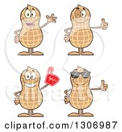 Clipart Of Cartoon Happy Peanut Characters Waving Giving A Thumb Up Wearing A Foam Finger And Wearing Sunglasses Royalty Free Vector Illustration