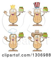 Clipart Of Cartoon Happy Peanut Characters Holding Jars Royalty Free Vector Illustration