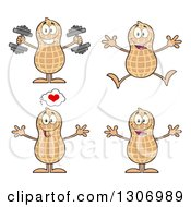 Clipart Of Cartoon Happy Peanut Characters Working Out Jumping And Welcoming Royalty Free Vector Illustration
