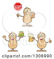 Clipart Of Cartoon Happy Peanut Characters Holding A Stop Sign Beer And Jar Of Butter Royalty Free Vector Illustration