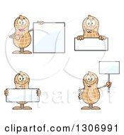 Clipart Of Cartoon Happy Peanut Characters With Blank Signs Royalty Free Vector Illustration