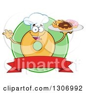 Clipart Of A Cartoon Round Glazed Or Plain Chef Donut Character Gesturing Ok And Holding A Tray Of Doughnuts Over A Blank Banner And Green Circle Royalty Free Vector Illustration by Hit Toon