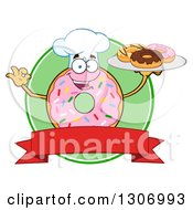 Clipart Of A Cartoon Happy Round Pink Sprinkled Donut Chef Character Holding A Plate Of Doughnuts Over A Blank Banner And Green Circle Royalty Free Vector Illustration by Hit Toon