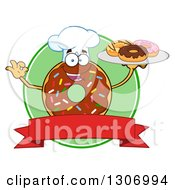Clipart Of A Cartoon Happy Round Chocolate Sprinkled Donut Chef Character Holding A Tray Of Doughnuts Over A Blank Banner And Green Circle Label Royalty Free Vector Illustration by Hit Toon