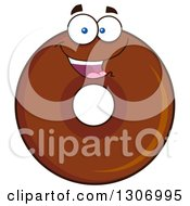 Clipart Of A Cartoon Happy Round Chocolate Donut Character Royalty Free Vector Illustration by Hit Toon