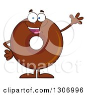 Clipart Of A Cartoon Happy Friendly Waving Round Chocolate Donut Character Royalty Free Vector Illustration by Hit Toon