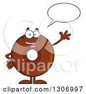 Clipart Of A Cartoon Happy Talking And Waving Round Chocolate Donut Character Royalty Free Vector Illustration by Hit Toon