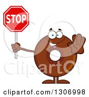 Clipart Of A Cartoon Happy Round Chocolate Donut Character Holding A Stop Sign Royalty Free Vector Illustration