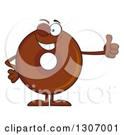 Clipart Of A Cartoon Happy Round Chocolate Donut Character Giving A Thumb Up And Winking Royalty Free Vector Illustration by Hit Toon