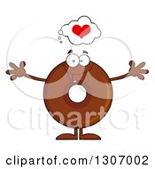 Clipart Of A Cartoon Loving Round Chocolate Donut Character Welcoming Royalty Free Vector Illustration by Hit Toon