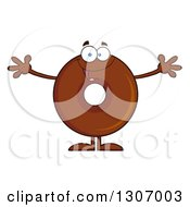 Clipart Of A Cartoon Happy Round Chocolate Donut Character Welcoming Royalty Free Vector Illustration by Hit Toon