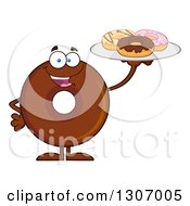 Clipart Of A Cartoon Happy Round Chocolate Donut Character Holding Up A Tray Of Doughnuts Royalty Free Vector Illustration by Hit Toon