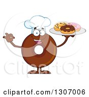 Clipart Of A Cartoon Happy Round Chocolate Donut Chef Character Gesturing Ok And Holding A Tray Of Doughnuts Royalty Free Vector Illustration by Hit Toon