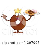 Clipart Of A Cartoon Happy Round Chocolate Donut King Character Gesturing Ok And Holding A Tray Of Doughnuts Royalty Free Vector Illustration by Hit Toon