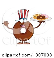 Clipart Of A Cartoon Happy Round American Chocolate Donut Character Gesturing Ok And Holding A Tray Of Doughnuts Royalty Free Vector Illustration by Hit Toon