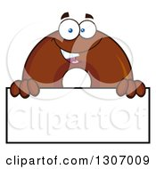 Clipart Of A Cartoon Happy Round Chocolate Donut Character Over A Blank Sign Royalty Free Vector Illustration by Hit Toon