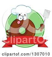 Clipart Of A Cartoon Happy Round Chocolate Donut Chef Character Holding A Spatula Over A Blank Banner In A Green Circle Royalty Free Vector Illustration by Hit Toon