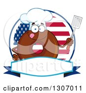 Cartoon Happy Round Chocolate Donut Chef Character Holding A Spatula Over A Blank Banner In An American Circle