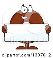 Clipart Of A Cartoon Happy Round Chocolate Donut Character Holding A Blank Sign Royalty Free Vector Illustration by Hit Toon