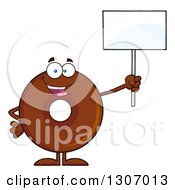 Clipart Of A Cartoon Happy Round Chocolate Donut Character Holding Up A Blank Sign Royalty Free Vector Illustration by Hit Toon