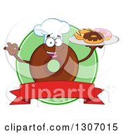 Clipart Of A Cartoon Happy Round Chocolate Donut Chef Character Holding A Tray Of Doughnuts Over A Blank Banner And Green Circle Royalty Free Vector Illustration by Hit Toon