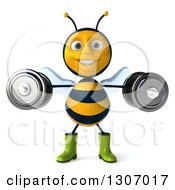 Clipart Of A 3d Happy Gardener Bee Working Out Doing Lateral Raises With Dumbbells Royalty Free Illustration