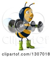 Clipart Of A 3d Happy Gardener Bee Facing Slightly Right Working Out Doing Lateral Raises With Dumbbells Royalty Free Illustration