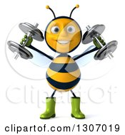 Clipart Of A 3d Happy Gardener Bee Working Out Doing Shoulder Presses With Dumbbells Royalty Free Illustration